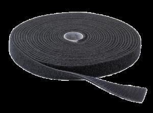 Klittenband 12mm breed zwart (25m lang)